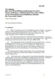 Verordnung über den Studiengang und die Organisation