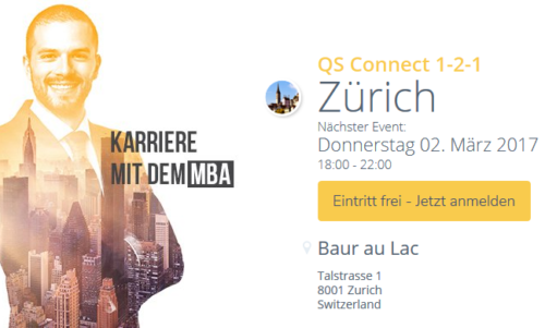 Executive MBA UZH ist am MBA-Event QS Connect 1-2-1 in Zürich!