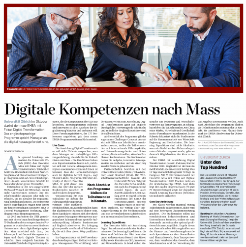 Digital Management Competencies EMBA UZH