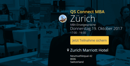 Executive MBA UZH ist am QS Connect 1-2-1 und an der QS World MBA Tour in Zürich!